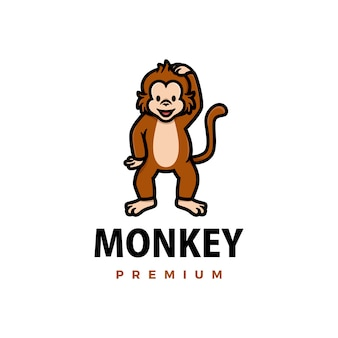 Cute monkey cartoon logo  icon illustration