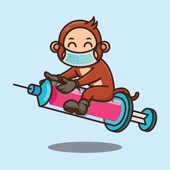 백신 주입 디자인을 위한 바늘이 달린 귀여운 원숭이 만화 승마 주사기