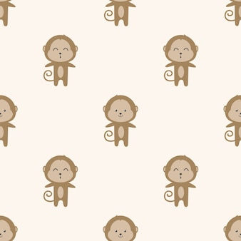Cute monkey cartoon seamless pattern