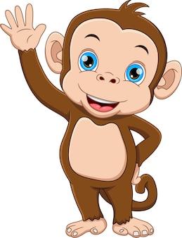 Милая обезьяна мультфильм машет