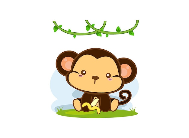 Cute monkey cartoon on a white background