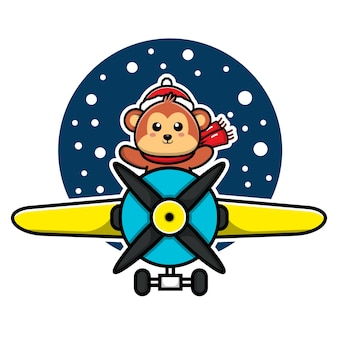 Cute monkey celebrating christmas with the plane vector illustration