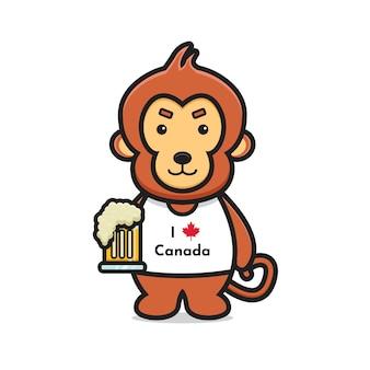 귀여운 원숭이 캐릭터 축하 캐나다 날 그림