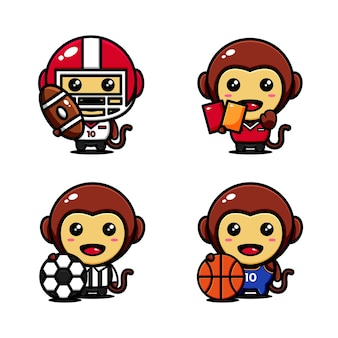 Cute monkey character design set themed sport actor
