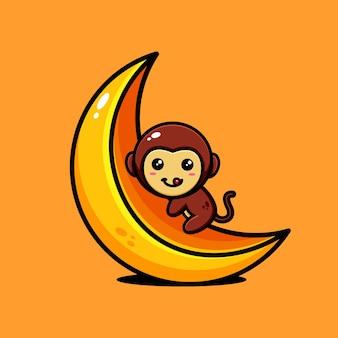 Cute monkey character design themed delicious banana