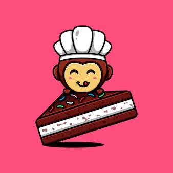 귀여운 원숭이 캐릭터 디자인 테마 맛있는 초콜릿 크림 케이크