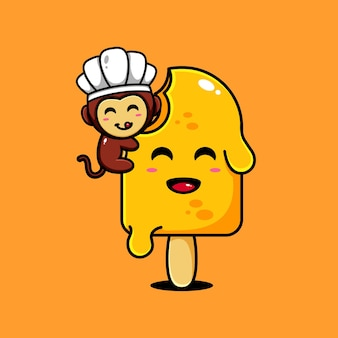 Симпатичная обезьяна дизайн персонажей тематическое вкусное мороженое