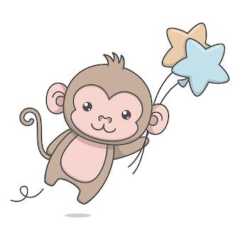 풍선 들고 귀여운 원숭이 캐릭터