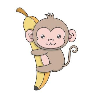 Cute monkey character hugging big banana