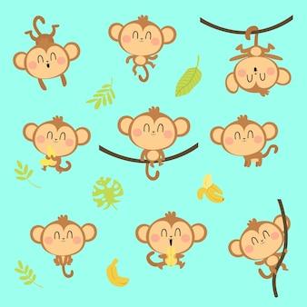 Симпатичный персонаж обезьяны, играющий вокруг