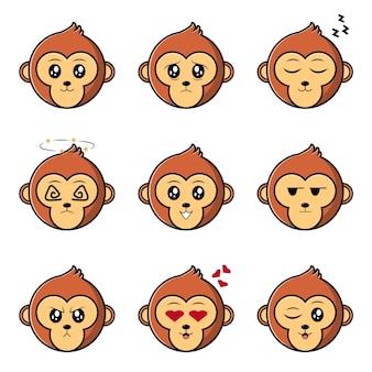 귀여운 원숭이 문자 집합 컬렉션 벡터 만화 일러스트 레이 션 디자인 화이트 절연