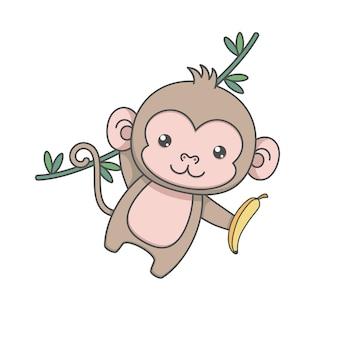 Cute monkey character swinging and holding banana