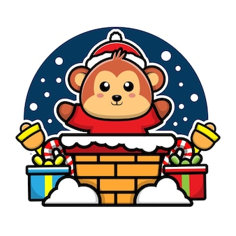 Cute monkey in the chimney cartoon character christmas concept illustration