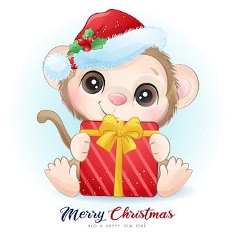 Cute  monkey for christmas day with watercolor illustration