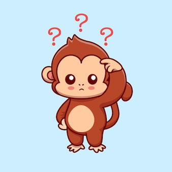 Cute monkey confused cartoon vector icon illustration. animal nature icon concept isolated premium vector. flat cartoon style