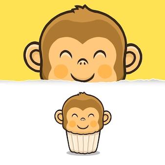귀여운 원숭이 컵케익, 동물 캐릭터 디자인.