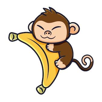Милый дизайн обезьяны с бананом