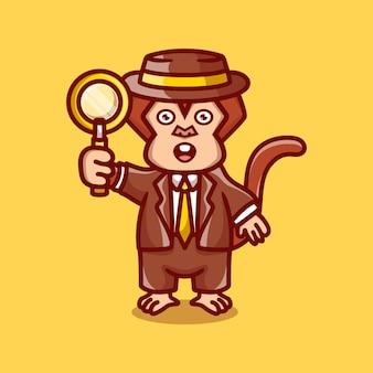 돋보기를 들고 귀여운 원숭이 탐정 프리미엄 벡터