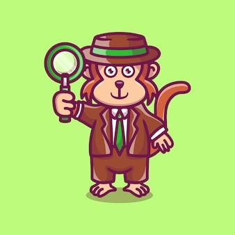 돋보기를 들고 귀여운 원숭이 탐정