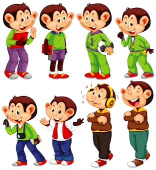 Cute monkey in different costumes on white background