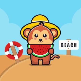 Cute monkey eat watermelon on the beach cartoon   illustration
