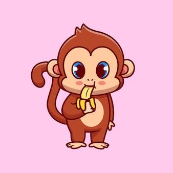 바나나를 먹는 귀여운 원숭이
