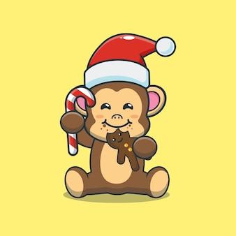 Cute monkey eating christmas cookies cute christmas cartoon illustration