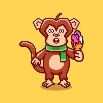 Cute monkey eating ice cream illustration