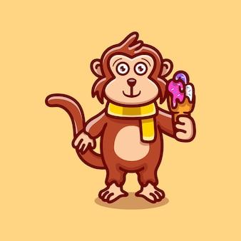 아이스크림을 먹는 귀여운 원숭이 일러스트