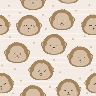 Cute monkey face cartoon seamless pattern