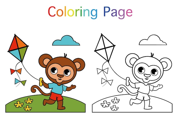 Cute monkey flying a kite coloring page for children vector illustration