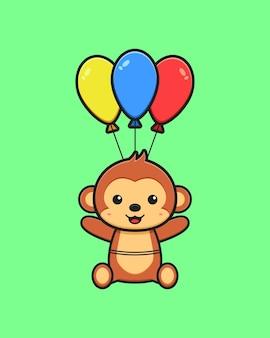 풍선 만화 아이콘 일러스트와 함께 비행 하는 귀여운 원숭이. 디자인 고립 된 평면 만화 스타일