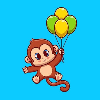 Cute monkey flying with balloon