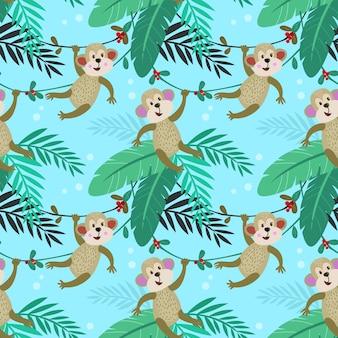 Cute monkey in forest seamless pattern
