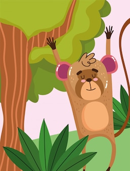 Cute monkey hanging branch tree on green forest