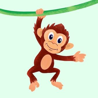 Cute monkey hanging on trendil illustration