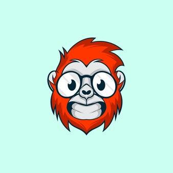 Милая обезьяна голова носить очки иллюстрация