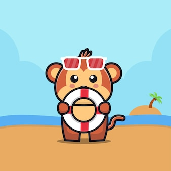 Cute monkey hold swim ring cartoon   illustration animal summer concept