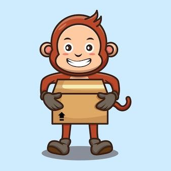 Милая обезьяна держит дизайн картонной коробки