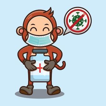 コロナウイルスワクチンのデザインを保持しているかわいい猿
