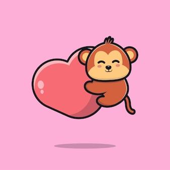 Милая обезьяна держит сердце мультфильм значок иллюстрации