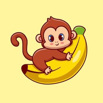 귀여운 원숭이 포옹 바나나