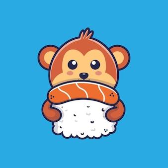 Cute monkey hugging sushi cartoon illustration