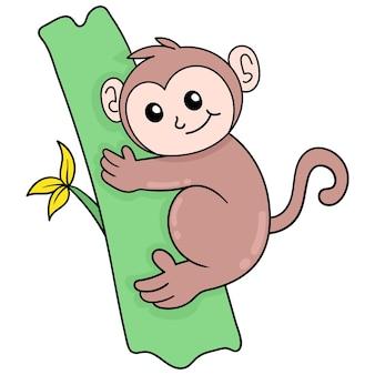 Cute monkey hugging tree trunk cute face happy, vector illustration art. doodle icon image kawaii.