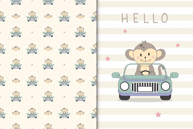 Cute monkey illustration drivng a car and seamless pattern