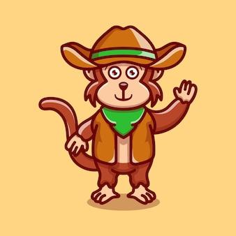 카우보이 옷을 입고 귀여운 원숭이 그림
