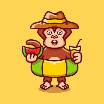 수박과 음료를 들고 수영 반지와 함께 해변 모자에 귀여운 원숭이