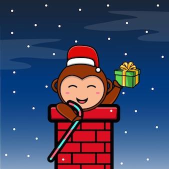 크리스마스 밤에 귀여운 원숭이 만화