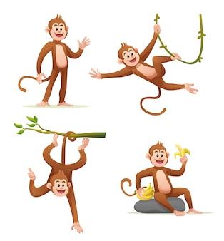 다양 한 포즈 만화 일러스트 레이 션에 귀여운 원숭이