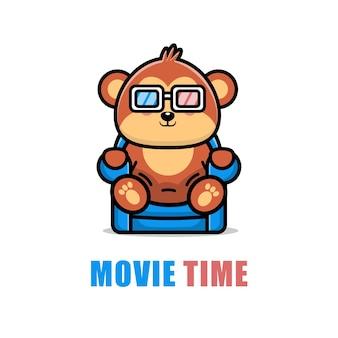 Милая обезьяна смотрит мультфильм иллюстрации фильма